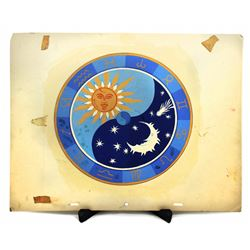 Skyway Chalet celestial clock design painting.