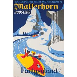 Original Matterhorn Bobsleds  attraction poster.