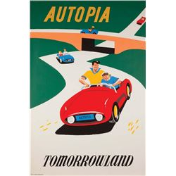 Original Autopia  attraction poster.