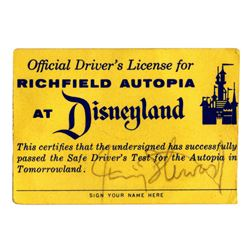 Jimmy Stewart signed Autopia driver's license.