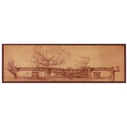 Early Herb Ryman Walt Disney World Swiss Family Robinson concept artwork brownline.