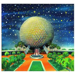 Original Spaceship Earth Pre-Opening Merchandise Artwork Master Painting.