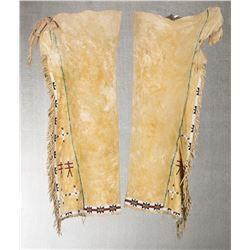 "Southern Cheyenne Beaded Men's Pictorial Leggings, 32"" long"