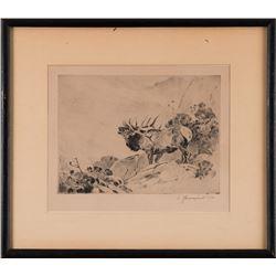 Carl Rungius, etching