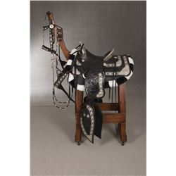 Keyston Bros. (San Francisco, CA) Tooled Black Saddle, Silver and Gold Mounted