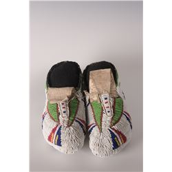 "Lakota Sioux Women's Ceremonial Moccasins, 9"" long"