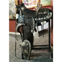 Edward H. Bohlin Sterling Silver Mounted Tooled Black Parade Saddle