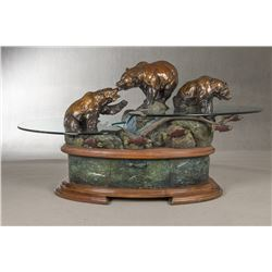 Daniel Parker, bronze and glass table/fountain