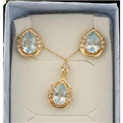Blue Topaz Pendant & Earrings Set.