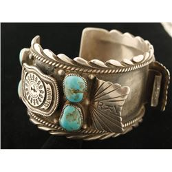 Heavy Turquoise & Silver Man's Watchband