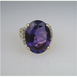 Sensational Fine Quality Amethyst & Diamond Ring.