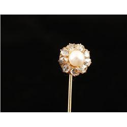Antique 14K Diamond & Pearl Stickpin.