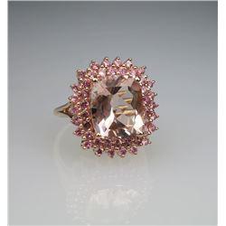 Glamorous Pink Morganite & Pink Tourmaline Ring.