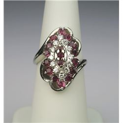 Vibrant FINE Quality Red Ruby & Diamond Ring.