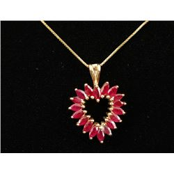 Ruby Heart Pendant with Chain.