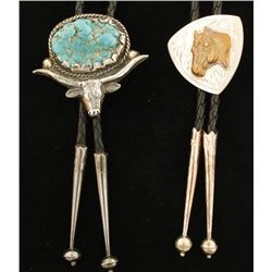 Pair of Sterling Silver Native American Bolo Ties.