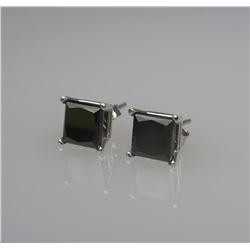 Pair of Princess Cut Black Diamond Stud Earrings