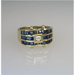 Designer Inspired Blue Sapphire & Diamond Ring.