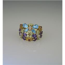 Whimsical Multi-Colored Butterfly & Floral Ring.