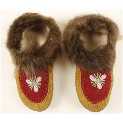 Native American Fur Rimmed Moccasins