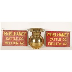 Brass Spittoon and Two Wooden Placards