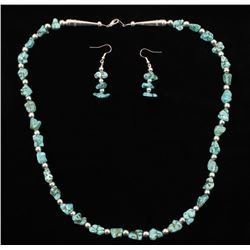 Turquoise Nugget Necklace with Matching Earrings