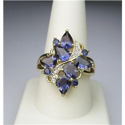 "Iolite ""Water Sapphire"" & Diamond Ring."