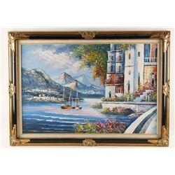 Original Oil on Canvas of European Seaside.