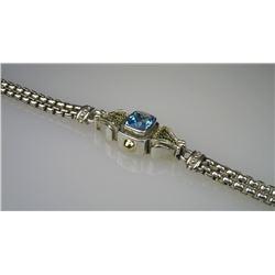 Swiss Blue Topaz & Sterling Silver Bracelet
