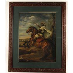 Fine Art Print of Middle Eastern Man on Horseback.