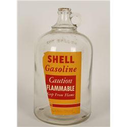 Glass One Gallon Shell Gasoline Bottle.