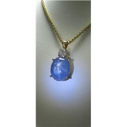 Natural Burmese Star Sapphire & Diamond Pendant.
