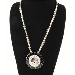 Large Zuni Sunface Pin/Pendant on Beaded Necklace