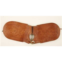 Brown Tooled Leather Saddle Bags