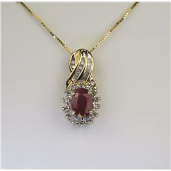 Radiant Ruby & Diamond Pendant.