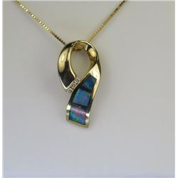 Ribbon Motif Inlayed Opal & Diamond Pendant