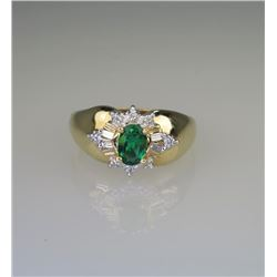 Splendid Chatham Created Emerald & Diamond Ring.