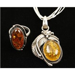Pretty Amber Necklace and Ring