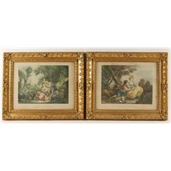 Lot of 2 Prints of French Couples in Countryside