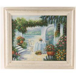 Original Oil on Canvas of Garden Scene