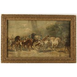 """Lithograph """"Of the Horse Fair"""" by Rosa Banheur"""
