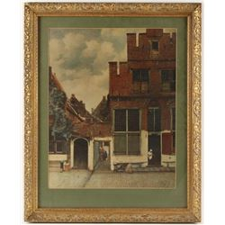 Lithograph of Old Brick Building and Women