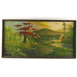 Original Acrylic on Board of a Lakeside