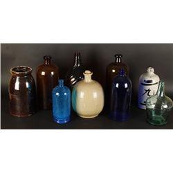 Lot of 9 Antique Bottles & Jars