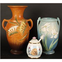 Lot of 2 Roseville Vases and 1 Honey Pot