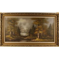 Framed Original Oil Painting of Forest
