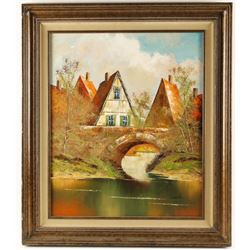Original Oil on Canvas depicting a Village