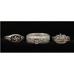 Lot of 3 German WWII Sterling Rings.