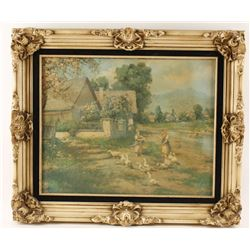 Oil Painting of Cottage Scene