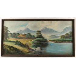Original Oil on Board Depicting Vietnam Landscape